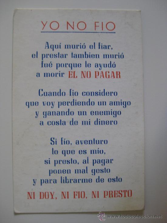 Calendario De Bolsillo A 241 O 1970 Yo No Fio Comprar