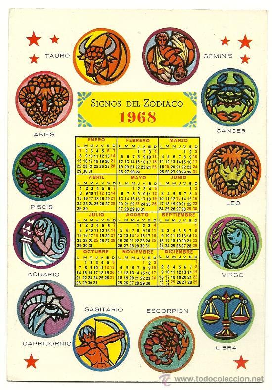 Calendario Zodiaco.Calendario De Signos Del Zodiaco Ano 1968 Horoscopo