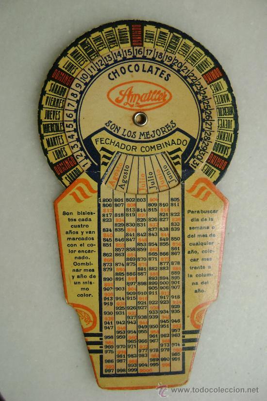 FECHADOR COMBINADO CHOCOLATES AMATLLER (Coleccionismo - Calendarios)
