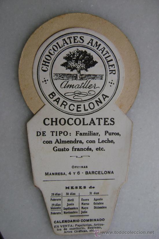 Coleccionismo Calendarios: FECHADOR COMBINADO CHOCOLATES AMATLLER - Foto 2 - 30197705