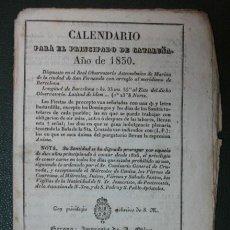 Coleccionismo Calendarios: CALENDARIO PARA EL PRINCIPADO DE CATALUÑA, AÑO DE 1830. (IMP. A. OLIVA. GIRONA). Lote 30616018