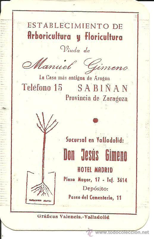 Calendario 1956,Viveros Gimeno,Sabiñán,Zaragoza,Valladolid,no Fournier,muy  Raro,el De La Foto