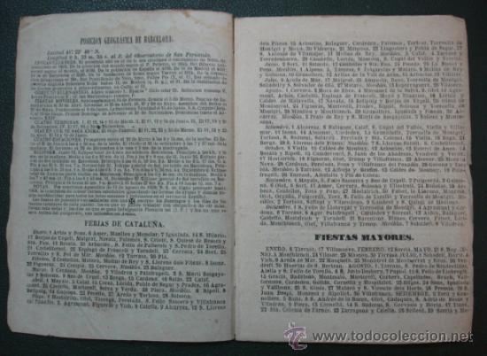 Coleccionismo Calendarios: CALENDARIO PARA EL PRINCIPADO DE CATALUÑA, AÑO DE 1862. (IMP. juan llorens. Barcelona) - Foto 2 - 30616080