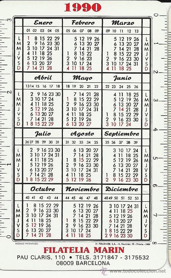 1990 Calendario.Calendario Fournier 1990 Filatelia Marin
