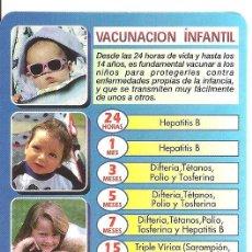 Coleccionismo Calendarios: CALENDARIO VACUNACION INFANTIL AÑO 2001. Lote 31568078