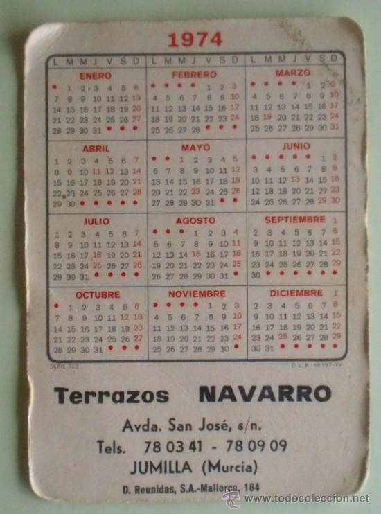 Coleccionismo Calendarios: Calendario. Terrazos Navarro. 1974. - Foto 2 - 32312781