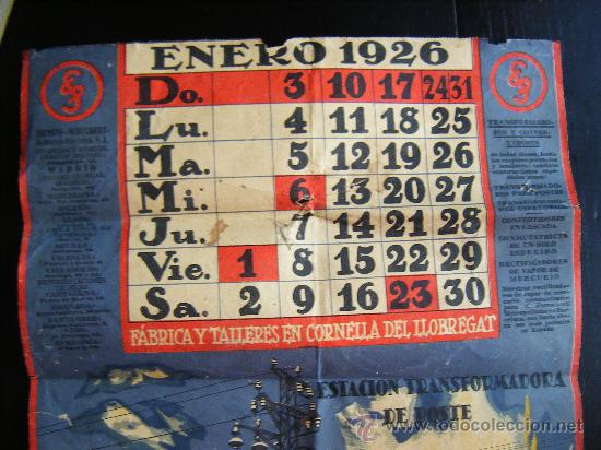 Calendario 1926.Antiguo Calendario 1926 Siemens Schuckert Indus Sold
