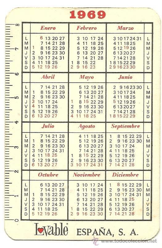 Calendario Del Ano 1969.Calendario Publicitario De Lovable Ano 1969