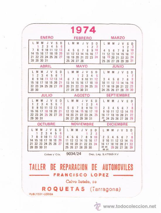 Calendario 1974.Roquetas Calendario 1974 Con Publicidad