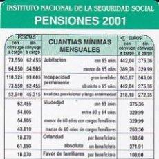 Coleccionismo Calendarios: CALENDARIO DEL INSS - PENSIONES 2001. Lote 33307091