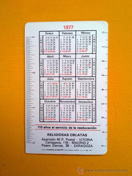 Coleccionismo Calendarios: calendario de bolsillo religioso evagraf vitoria 1977 religiosas oblatas excelente estado - Foto 2 - 33420141