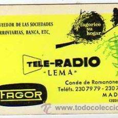 Coleccionismo Calendarios: CALENDARIO DE BOLSILLO PUBLICIDAD TELE-RADIO. LEMA. FAGOR. MADRID. 1967. Lote 33494912