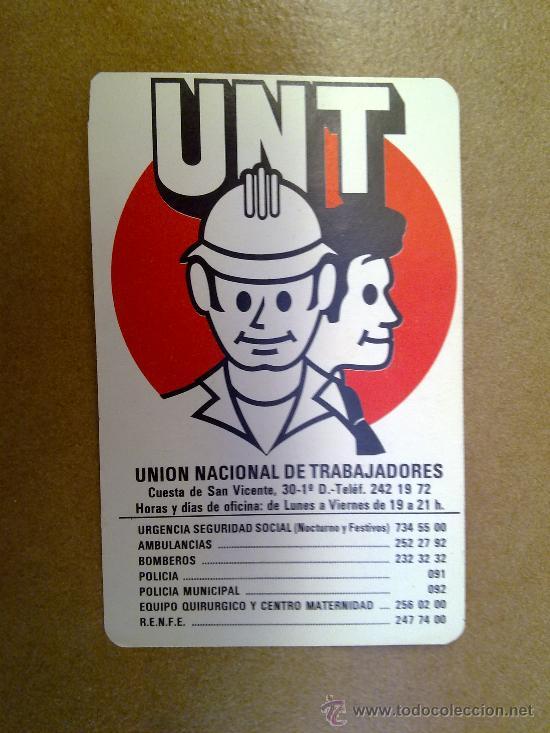 CALENDARIO UNT UNION NACIONAL DE TRABAJADORES 1983 (Coleccionismo - Calendarios)
