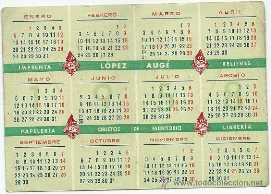 Calendario 1958.1438 Lopez Auge Calendario 1958 Mas Fiestas Oficiales Diptico 7x10 Cm