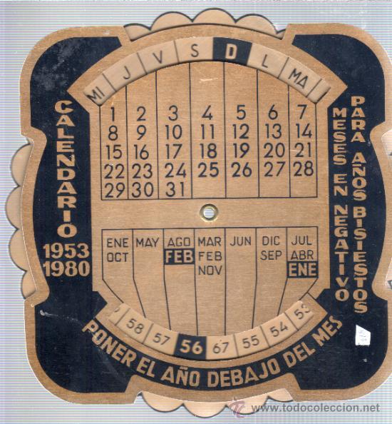 CALENDARIO METALICO -CALCULADORA 1953 - 1980 (Coleccionismo - Calendarios)