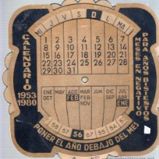 Coleccionismo Calendarios: CALENDARIO METALICO -CALCULADORA 1953 - 1980 . Lote 33985287