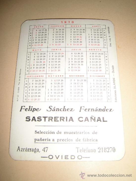 Coleccionismo Calendarios: CALENDARIO 1970 EDICIONES ALARDE Nº 52 .-GIJON PLAZA DE LOS MARTIRES - Foto 2 - 34589194