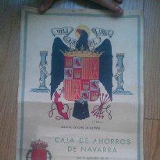 Coleccionismo Calendarios: 1940. GUERRA CIVIL CALENDARIO CAJA AHORROS NAVARRA PAMPLONA ESCUDO FRANQUISTA DIPUTACIÓN 57X 30 CM. Lote 34697241