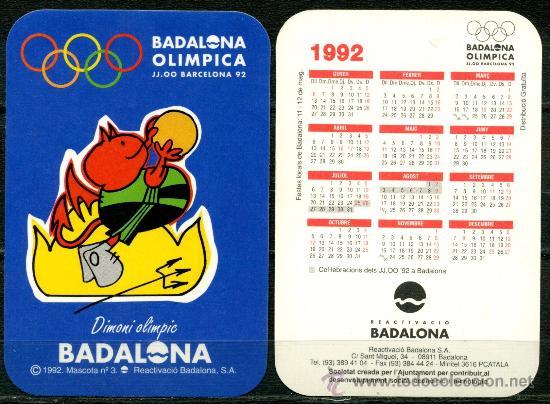 CALENDARIOS BOLSILLO - BADALONA OLIMPICA 1992 (Coleccionismo - Calendarios)