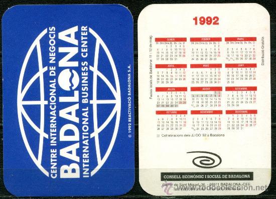 CALENDARIOS BOLSILLO - BADALONA 1992 (Coleccionismo - Calendarios)