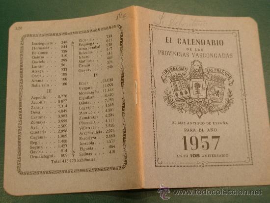 Calendario Del Ano 1957.Calendario De Bolsillo Antiguo Almanaque Ano 1957 Provincias Vascongadas 105 Aniversario