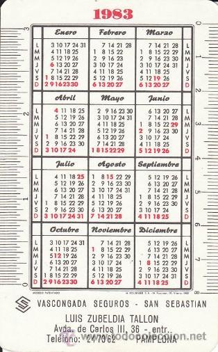 Coleccionismo Calendarios: Calendario Fournier. Vascongada Seguros. Año 1983. Ver foto adicional. - Foto 2 - 35963484
