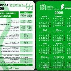 Coleccionismo Calendarios: CALENDARIOS BOLSILLO - SEGURIDAD SOCIAL 2005. Lote 36192752