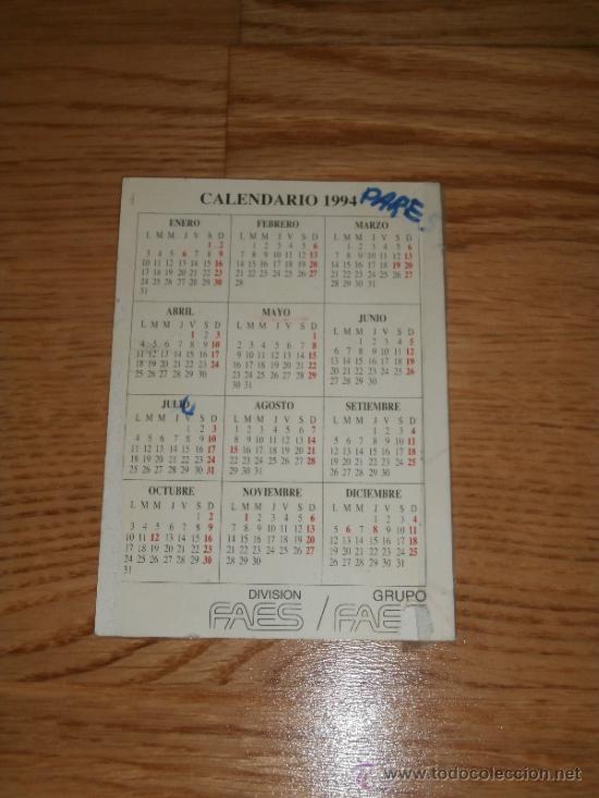 Coleccionismo Calendarios: Calendario de bolsillo / Medicamento Yendol / Grupo FAES (1994) - Foto 2 - 36255827