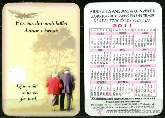CALENDARIOS BOLSILLO - GERMANETES DELS POBRES 2011 (Coleccionismo - Calendarios)