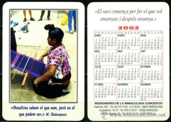 CALENDARIOS DE BOLSILLO - MISSIONERES DE LA IMMACULADA 2002 (Coleccionismo - Calendarios)