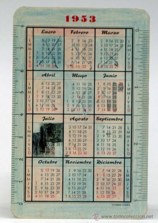 Coleccionismo Calendarios: Calendario de bolsillo La unión y el fenix Español 1953 - Foto 2 - 36844236