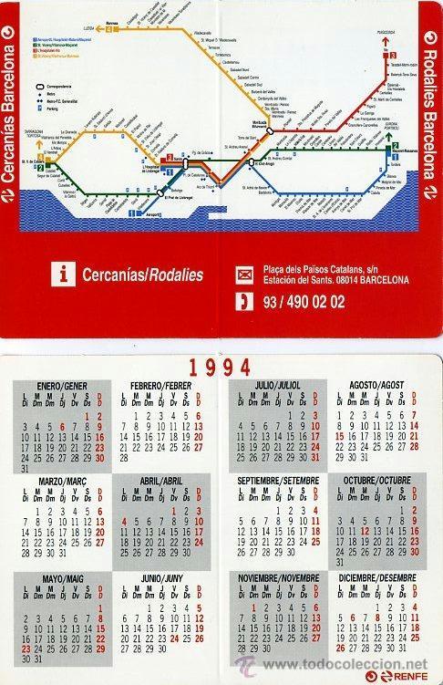 Calendario De Bolsillo Doble 1994 Renfe Cerca Buy Old