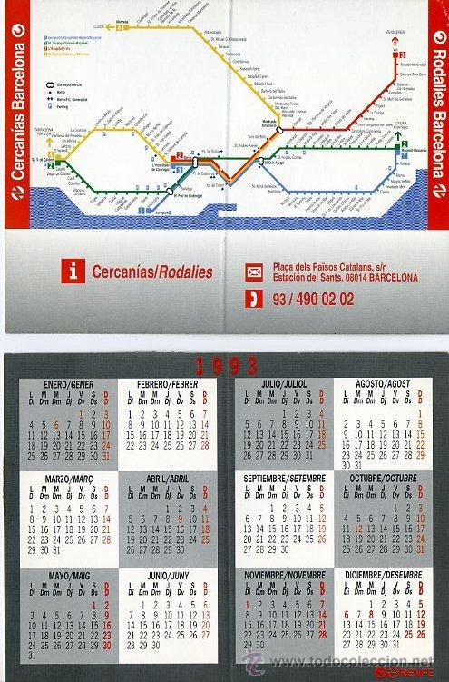 Calendario De Bolsillo Doble 1993 Renfe Cerca Buy Old