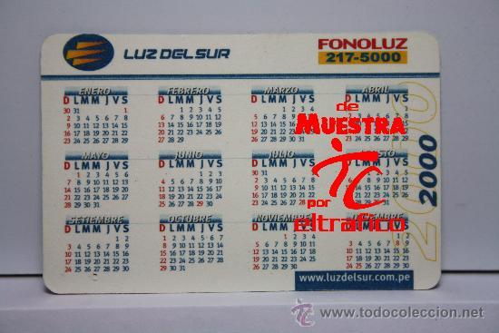 Calendario Del 2000.Calendario De Bolsillo Luz Del Sur Peru Ano 2000 Calendarios