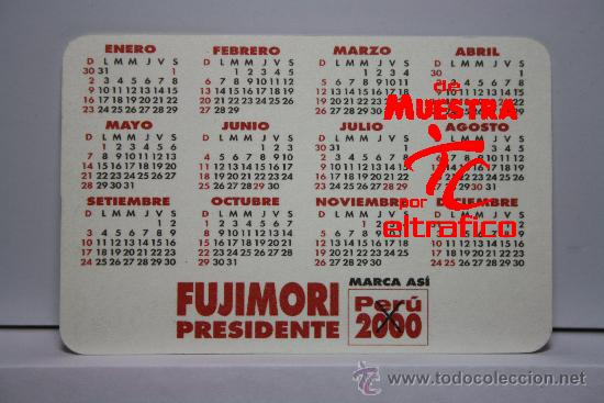 Calendario Del 2000.Calendario De Bolsillo Fujimori Presidente Pe Sold