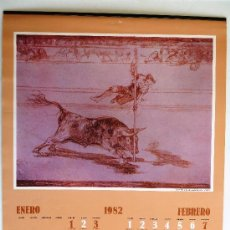 Coleccionismo Calendarios: CALENDARIO PARED CAJA DE AHORROS PROVINCIAL DE MÁLAGA 1982. LAMINAS DE CORRIDAS DE TOROS.. Lote 37831659