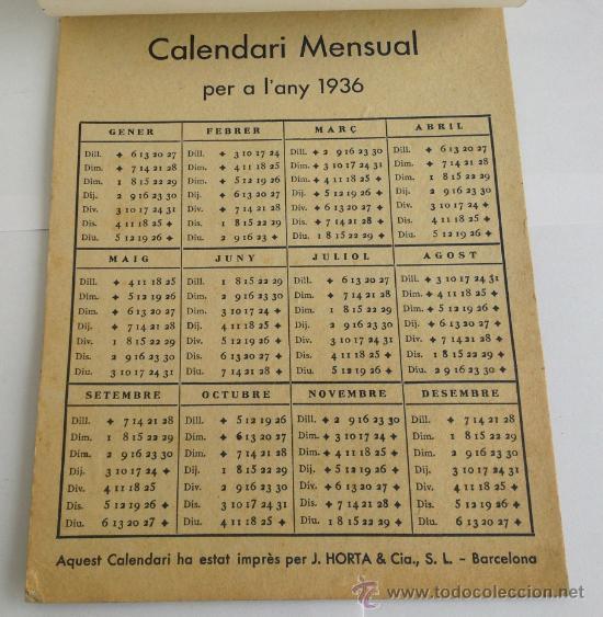 Calendario 1936.Calendario 1936 Centre Excursionista De Catalunya Club Alpi Catala Incompleto