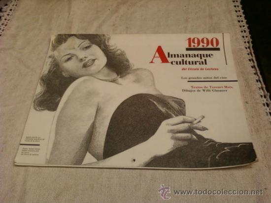 CALENDARIO . ALMANAQUE CÍRCULO LECTORES 1990 .LOS GRANDES MITOS DEL CINE (Coleccionismo - Calendarios)