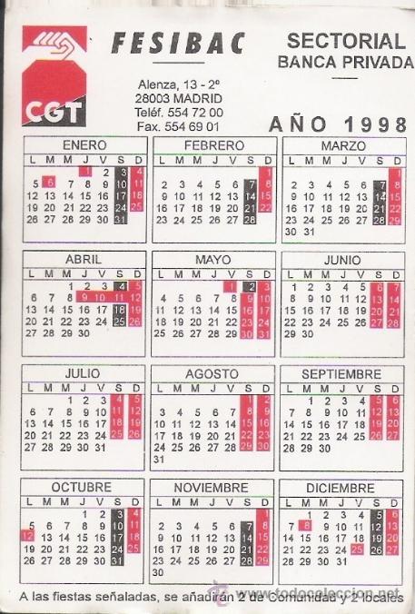 1998 Calendario.Calendario Sindicatos Politicos Cgt 1998