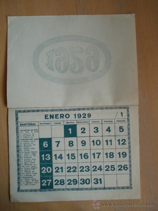 Calendario 1929.Calendario 1929 Autentico Epoca