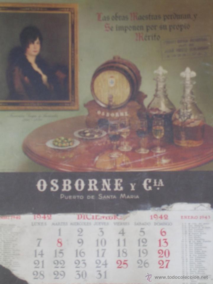 CALENDARIO DE PARED OSBORNE 1942 DE CARTON - CARTEL (Coleccionismo - Calendarios)