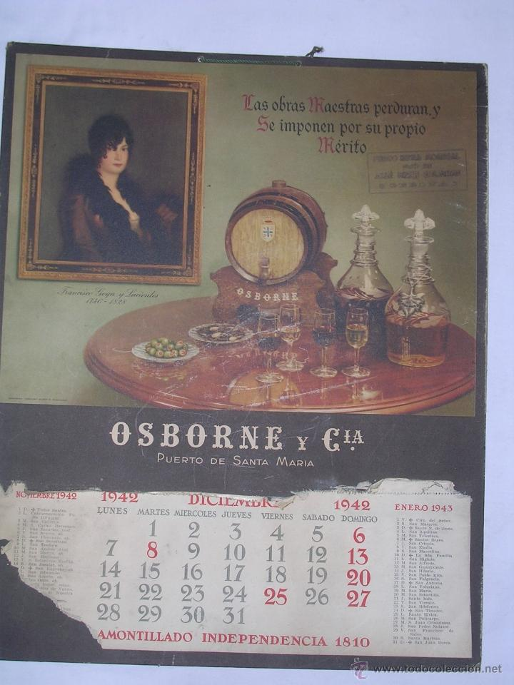 Coleccionismo Calendarios: CALENDARIO DE PARED OSBORNE 1942 DE CARTON - CARTEL - Foto 2 - 40118756