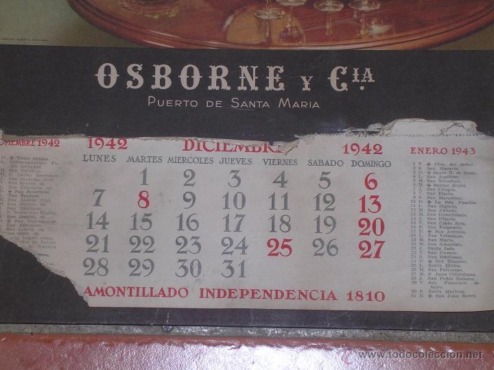 Coleccionismo Calendarios: CALENDARIO DE PARED OSBORNE 1942 DE CARTON - CARTEL - Foto 3 - 40118756
