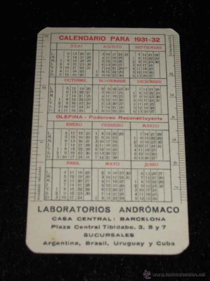 Calendario 1932 Espana.Calendario 1931 1932 Glefina Lasa Laboratorios Andromaco Barcelona