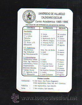 Calendario Escolar Valladolid.Calendario Publicitario De Bolsillo Universidad De Valladolid Calendario Escolar 1995 1996
