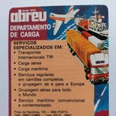 Coleccionismo Calendarios: CALENDARIO PORTUGAL 1987 TRANSPORTES ABREU. Lote 90374511