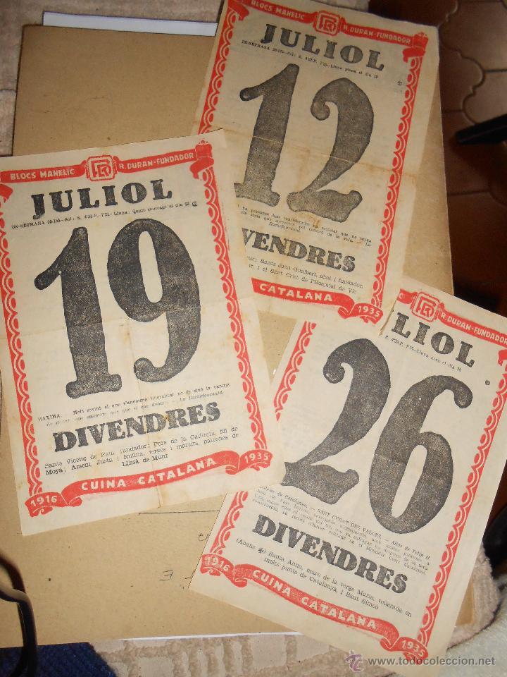 3 HOJAS CALENDARIO CON RECETAS DE COCINA CATALANA - AÑO 1935- (Coleccionismo - Calendarios)