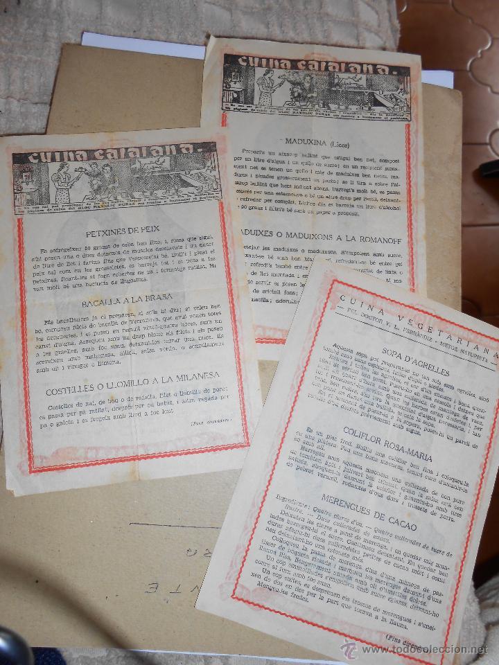 Coleccionismo Calendarios: 3 Hojas calendario con recetas de cocina catalana - año 1935- - Foto 2 - 42615127