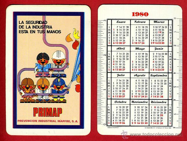 CALENDARIO FOURNIER, PUBLICIDAD PRIMAP MAPFRE , 1980 , ORIGINAL , CAD 291 (Coleccionismo - Calendarios)