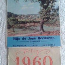 Coleccionismo Calendarios: CALENDARIO DE PARED 1960. PUBLICIDAD HIJO DE JOSE RECASENS. ULTRAMARINOS. CAMBRILS 39,5 X 22,5. Lote 44131863